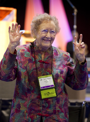 Louise Short, 105, greets General Conference