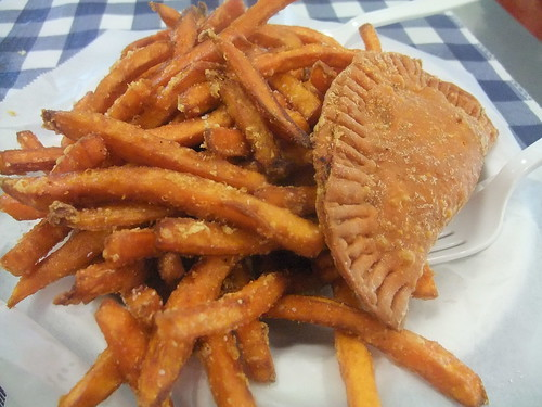 Crawfish Pie and Sweet Potato Fries