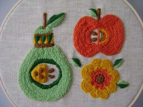 Crewel embroidery: fruit (front)