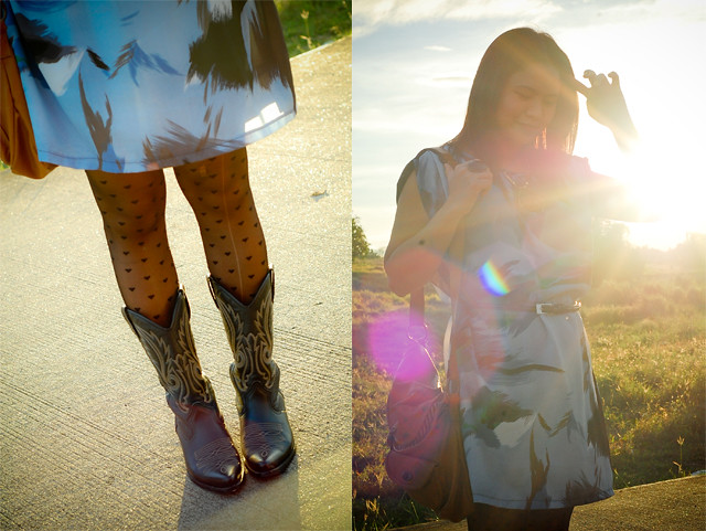 thrift dress, boots and bag
