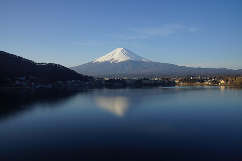 reflection of Mt. Fuji in the Kawaguchiko