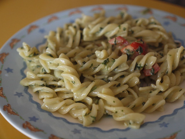 PW's pasta with pesto cream sauce