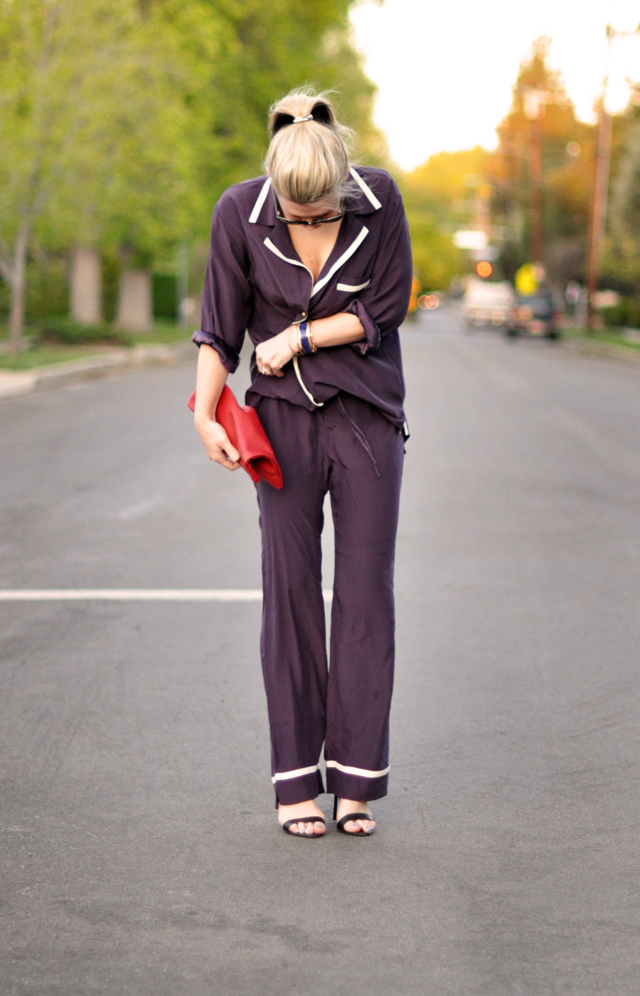 pajamas as outerwear-heels-red clutch bag