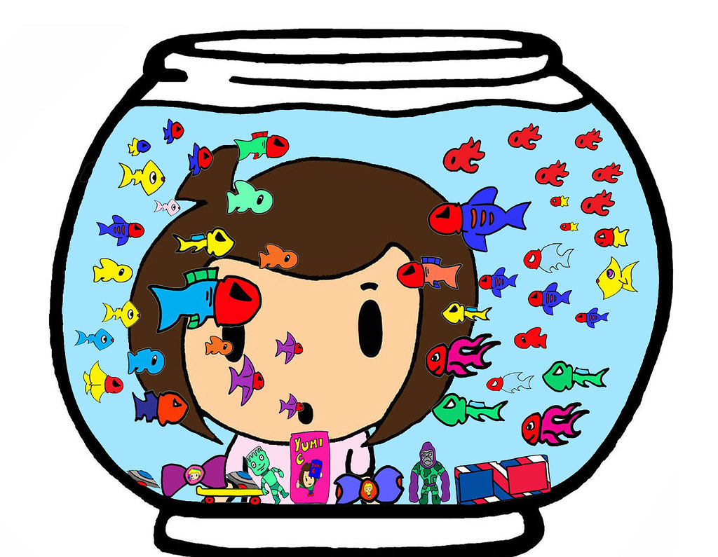 ... Pop Sees Lil Super Pee Wee Baby Fish Cartoon Art Pop Head Pee Head Fish  Bowl