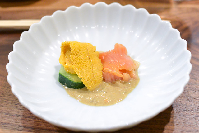 Uni, Red Clam, Cucumber, Crab Innards Sauce