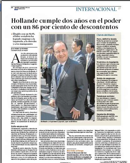 14e06 Hollande dos años 86 por ciento descontentos