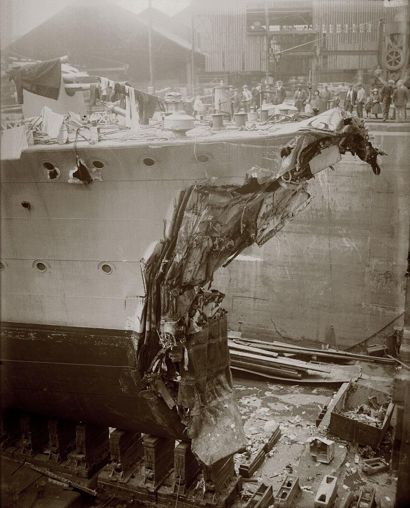 HMS Broke in dry dock after the Battle of Jutland
