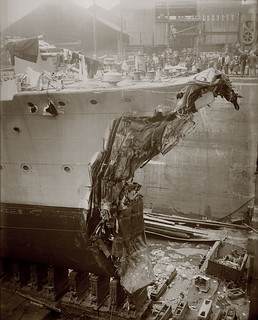 HMS Broke in dry dock after the Battle of Jutland