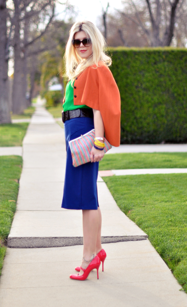 colorful outfit-orange and blue - green and pink
