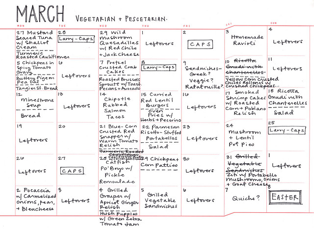march 2012 meal plan - veg