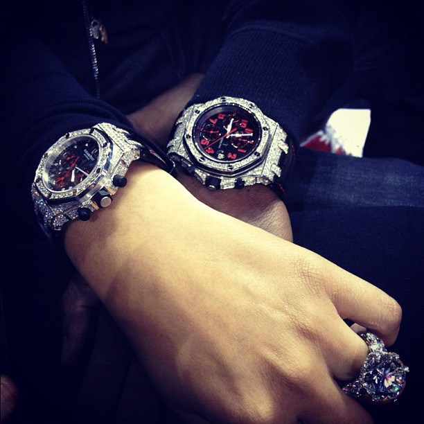 Shantel Jackson and Floyd Mayweather with MATCHING AP WATCHES