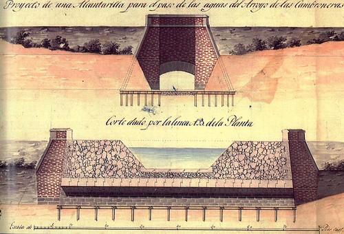 alcantarilla para el paso del arroyo de las Cambroneras por debajo del Canal Real. Atribuido a Miguel de Ynza . ca. 1826
