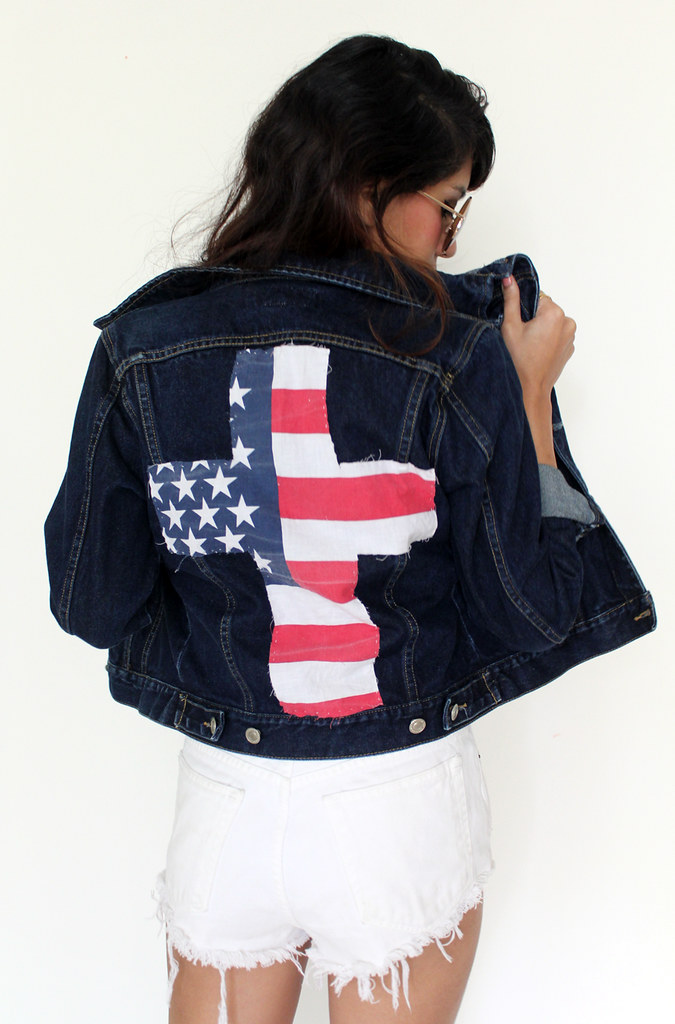 vintage denim jacket flag cross patch