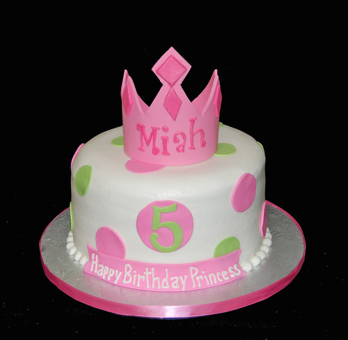 5th birthday pink and green princess tiara cake
