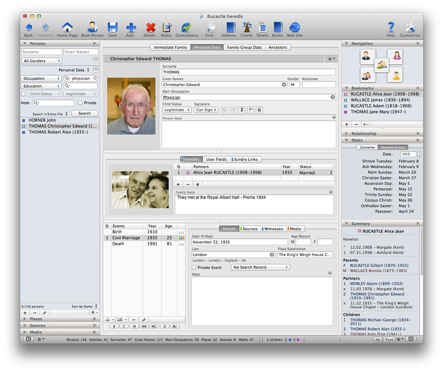 Heredis for Mac 2012 - Customizable Data Entry