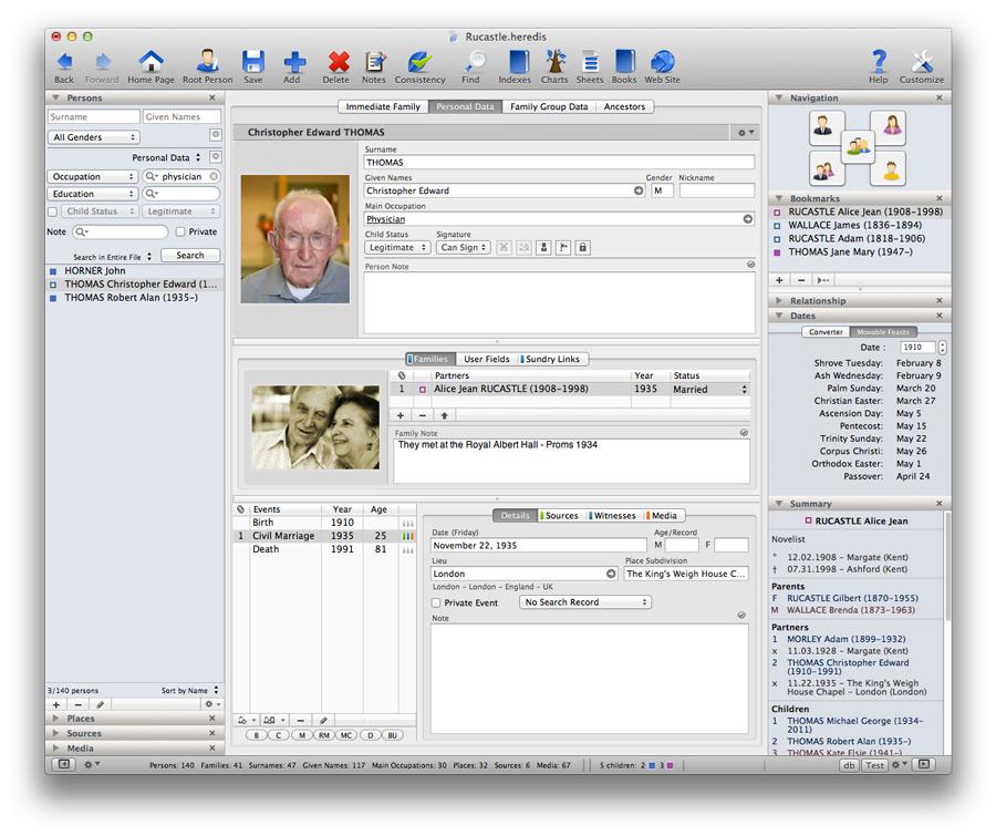 Heredis for Mac 2012 - Customizable Data Entry