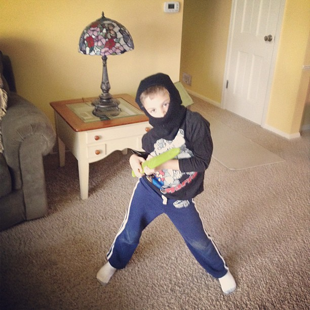 Owen as ninja... Or maybe bank robber
