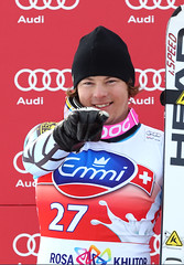 Ben Thomsen is a happy man after his first-career podium in the downhill in Sochi, Russia.