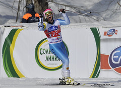 Ben Thomsen celebrates as he crosses the finish line in the downhill in Sochi, Russia.