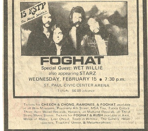 02/15/78 Foghat/Wet Willie/Starz @ St. Paul Civic Center Arena, St. Paul, MN