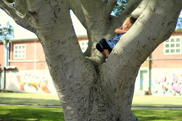 Sharing a moment with a tree.