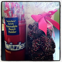 Valentine's Day gifts from my mommy: Twizzlers and chocolate-covered fortune cookies