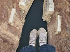 Foot Dangle, A long Way Down to the Hoover Dam Facilities