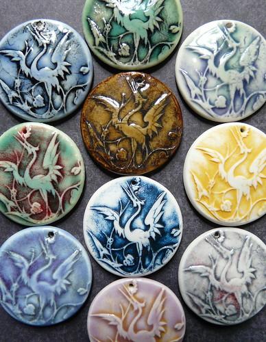Porcelain Heron Pendants