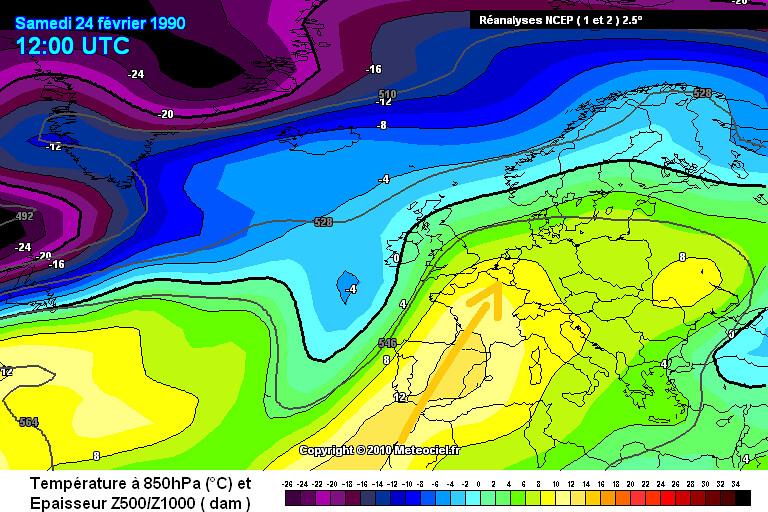 carte de masses d'air lors de la vague de chaleur fin février 1990 météopassion