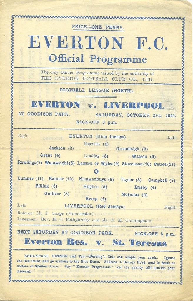 Everton v Liverpool 1944-45 | 21st October 1944 War Football