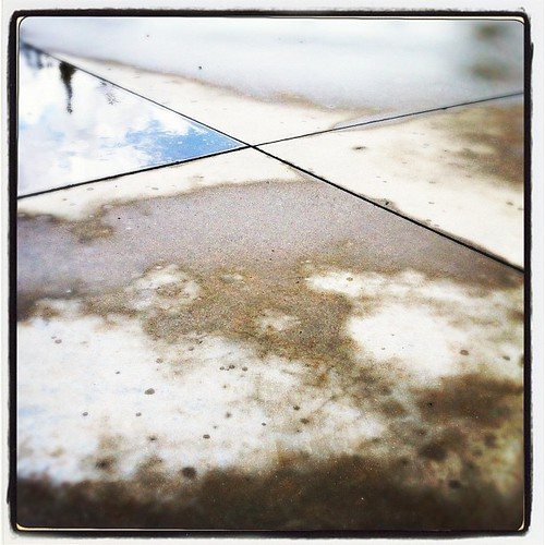 Sometimes you have to look down to reflect on what's above... 104/365 #365 #jj #suburbia #hipstamatic #igaddict #sky #skysnappers #ink361 #teg #cement #rain #storm #reflection