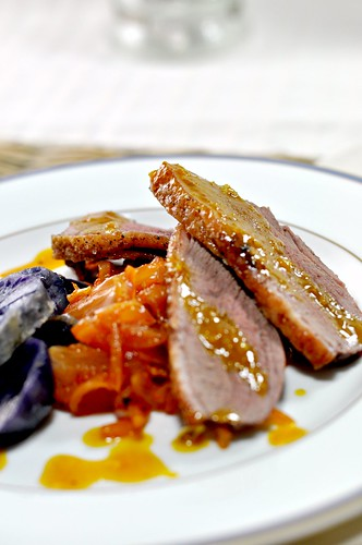 Duck Breast with Caramelized Onions & Orange Sauce