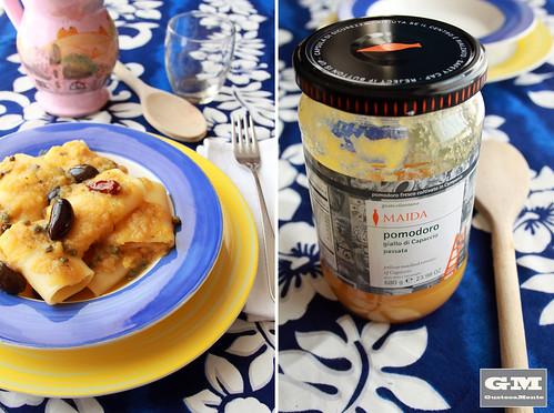 Schiaffoni al sugo giallo con olive e capperetti