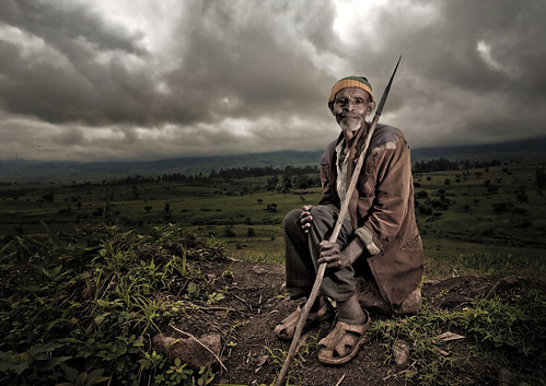 Poor Kaffa tribe man on the road, Ethiopia
