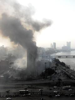 National Democratic Party Headquarters Still Burning Saturday Morning 29 January 2011