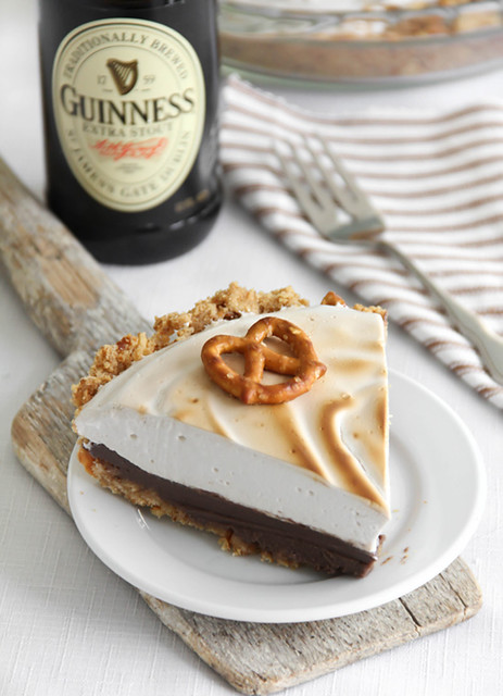 Sprinklebakes guinness chocolate pie with pretzel crust