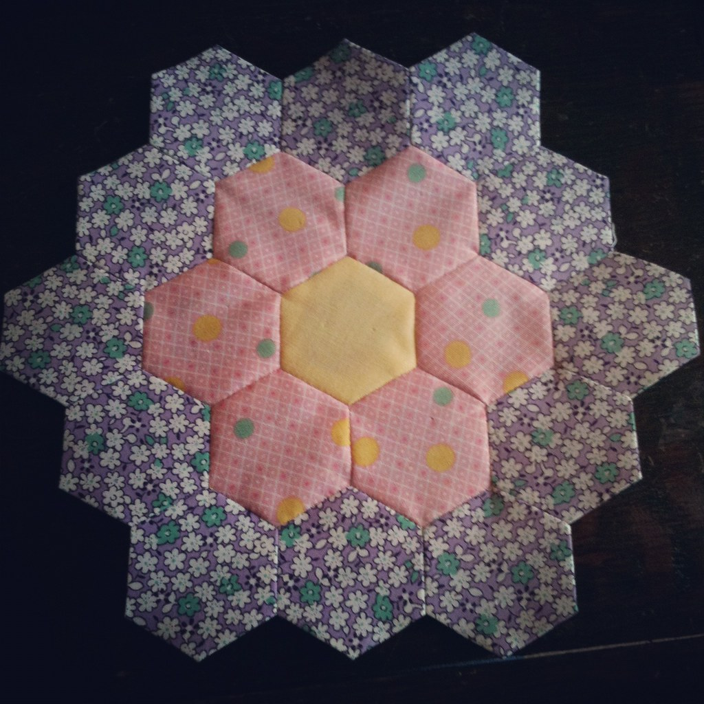 Grandmother's Flower Garden Quilt, Flower #1