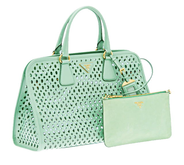 mint green prada perforated top handle bag satchel