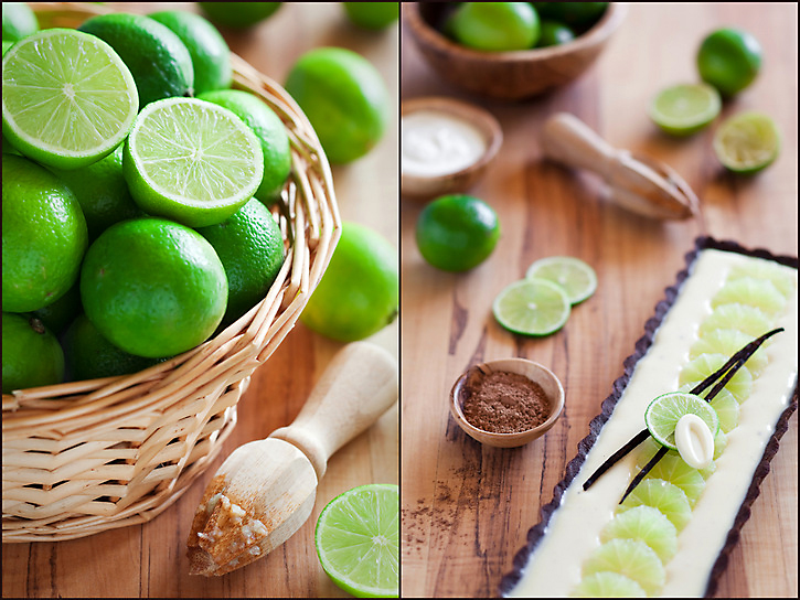 Lime and white chocolate tart