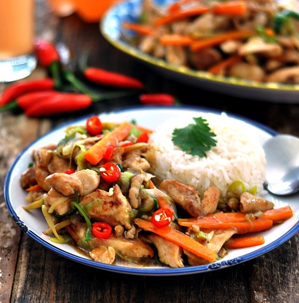 Recipe chinese ginger leek chicken stir fry fuss free cooking chinese ginger leek chicken stir fry forumfinder Images