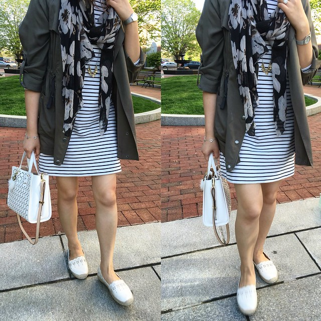 05/11/16 OOTD - Stripe Dress & Utility Jacket
