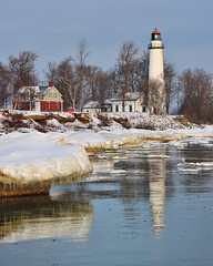 Wintertime at Aux Barques Lighthouse, Port Hope, Michigan by Michigan Nut