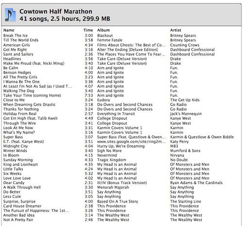 "<a href=""http://www.flickr.com/photos/domandtrey/6926532825/"" title=""2012 Cowtown Half Marathon Music Playlist by domandtrey, on Flickr""><img src=""http://farm8.staticflickr.com/7060/6926532825_951da421b7.jpg"" wid2012 Cowtown Half Marathon Music Playlist"