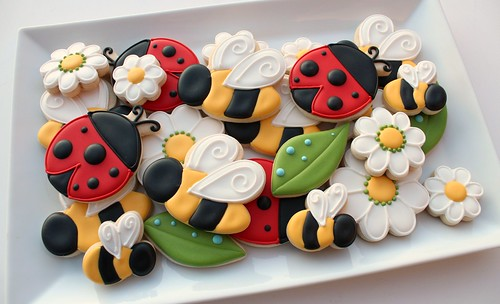Bees and Ladybug Cookies by SweetSugarBelle