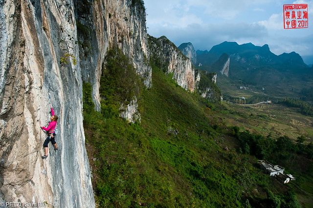 Sasha Digiulian climbing at Fish Crag