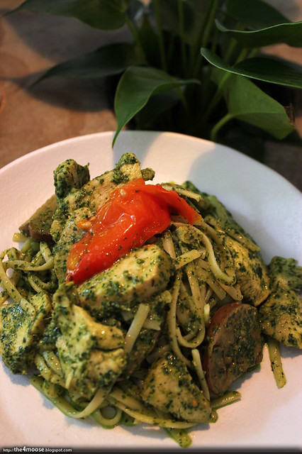 Food for Thought - Basil Almond Chicken Linguine