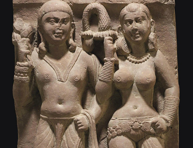 A relief with an Indian couple from Mathura - Detail