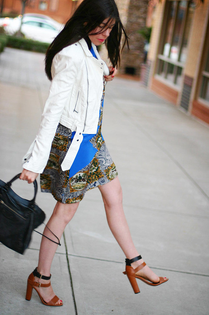 summer dress, balenciaga classic city bag, white leather jacket, fashion, christine alcalay, zara sandals