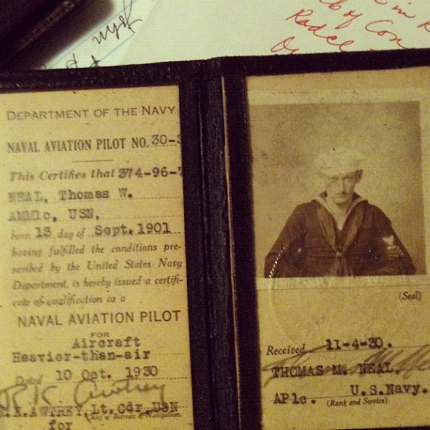 Grandfather's 1930 Navy flight certificate