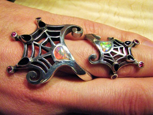Spideweb opal inlay ring without spider